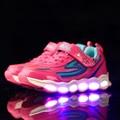Light up shoes for kids niños 2017 pu de la manera led Luces LED Luminoso que brilla intensamente negro zapatillas usb niñas caminando corriendo