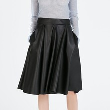 Black White PU Faux Leather A-line Midi Skirts Womens Autumn Solid Mid-calf Pleated Skirt With Pockets Plus Size 6XL 7XL 2016