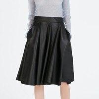 Wbctw الأسود بو فو الجلود خط ميدي النساء الخريف الصلبة منتصف العجل مطوي تنورة مع جيوب 9xl 10xl زائد حجم تنورة