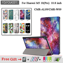 Cover Case For Huawei MediaPad M5 10 10.8 CMR-AL09 CMR-W09 Smart Cover Funda Tablet Slim Flip Stand Skin Case+Film+touch Pen new printed pu leather magnetic smart stand case for huawei mediapad m5 8 4 sht al09 sht w09 tablet protective cover film stylus