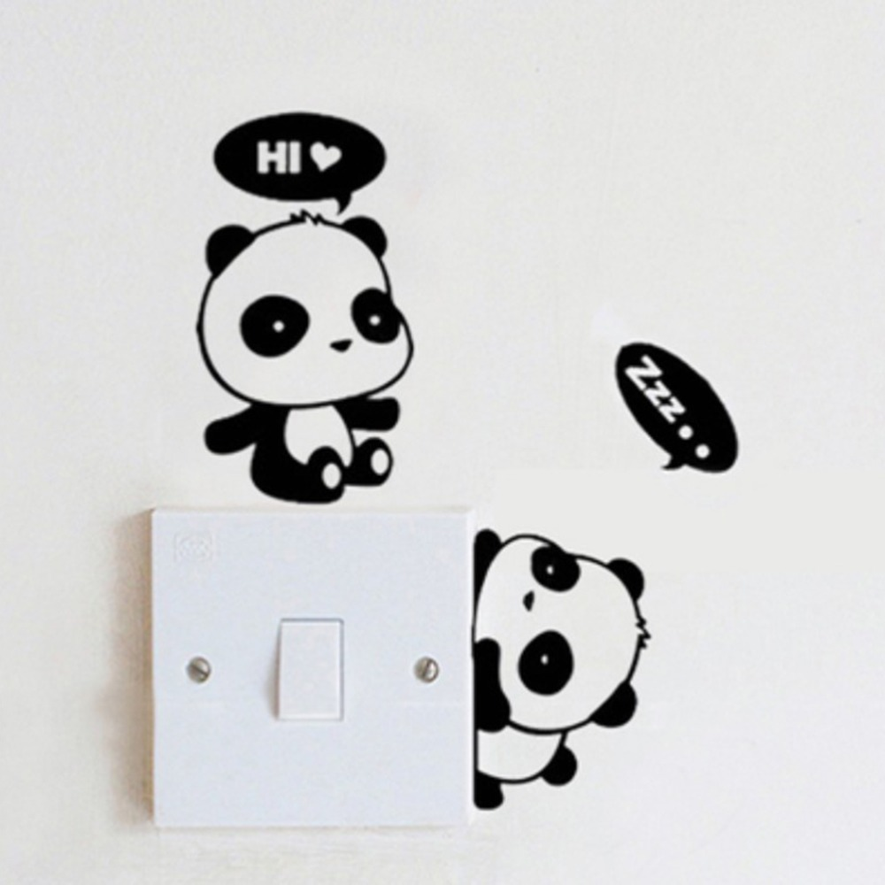Cute Cartoon Animals Wall Switch Stickers Wallpaper Vinyl Decor Wallpaper