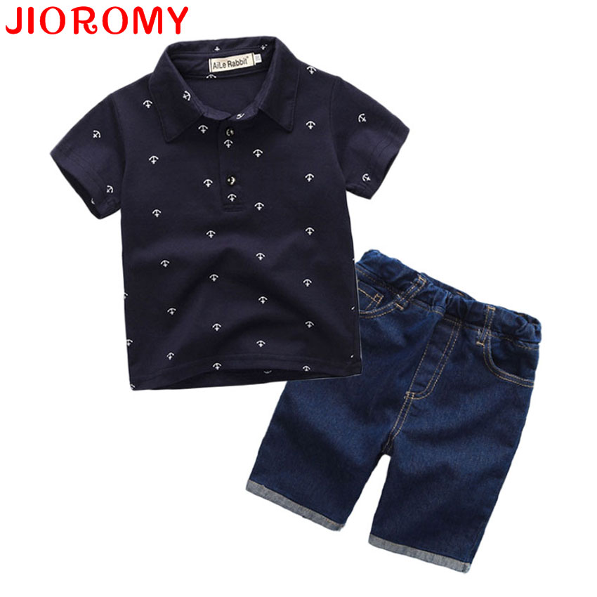 New Fashion Kids Apģērbi Boys Summer Set Drukas krekls + Short Boy apģērbu komplekti Toddler Boy Drēbes Set