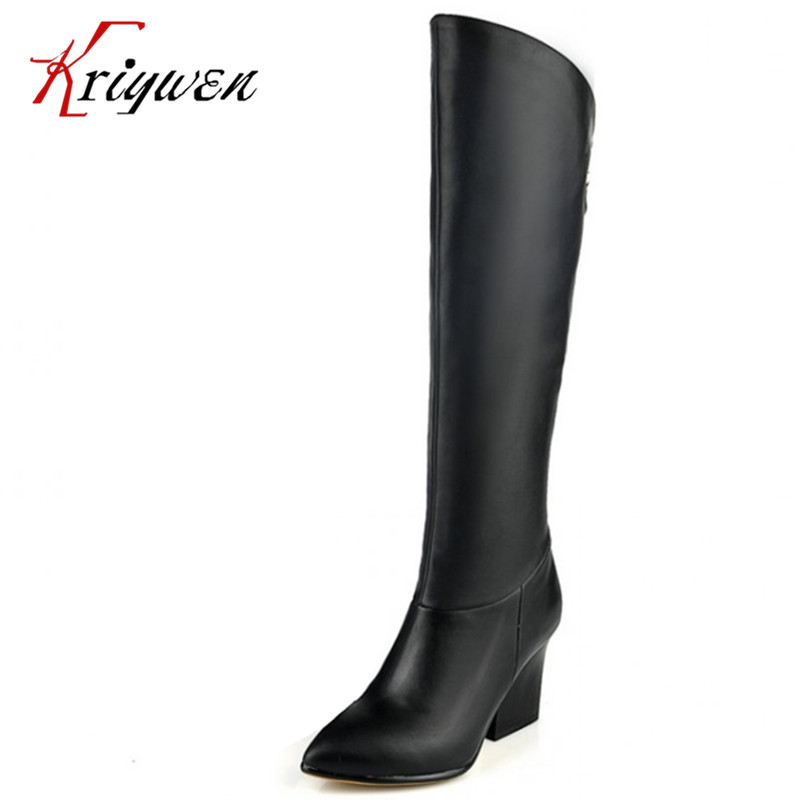 2016 New arrive women real genuine leather high heel over knee high boots long boot winter botas brand footwear lady shoes size 30 45 women real genuine leather flat over knee boots long boot warm winter botas mujer brand footwear heels shoes r7761
