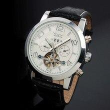 JARAGAR hombres Reloj Grande Del Dial Tourbillion Reloj Mecánico Automático Fecha Día Correa de Cuero Masculino Relojes Relogios