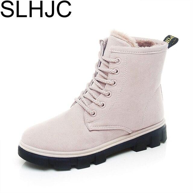 Slhjc 2017 зимние ботинки Низкий каблук Кружево полусапожки с плюшем Для женщин сопротивление скольжению зимняя обувь Теплые