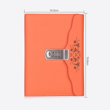 Hot Leather notebook Bussiness Personal Diary with Lock code thick Notepad Stationery products Customized Gift
