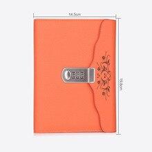 뜨거운 가죽 노트북 bussiness 개인 일기 잠금 코드 두꺼운 메모장 편지지 제품 맞춤 선물