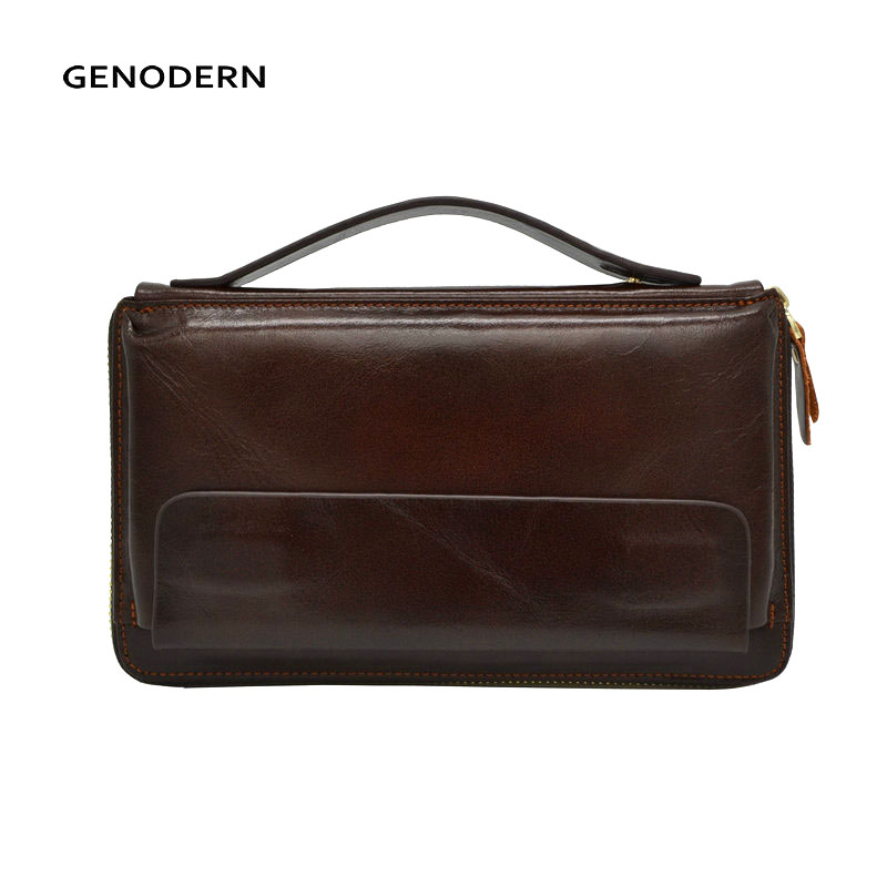 GENODERN Business Men Clutch Bag Cowhide Men Clutch Wallets 100% Genuine Leather Clutch Hand Bag Zipper Long Wallet for Male new oil wax leather men s wallet long retro business cowhide wallet zipper hand bag 2016 high quality purse clutch bag page 8