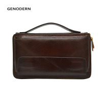 GENODERN Business Men Clutch Bag Cowhide Men Clutch Wallets 100% Genuine Leather Clutch Hand Bag Zipper Long Wallet for Male