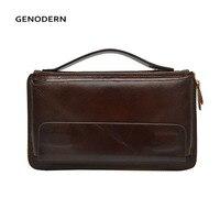 GENODERN Business Men Clutch Bag Cowhide Men Clutch Wallets 100% Genuine Leather Clutch Hand Bag Zipper Long Wallet for Male