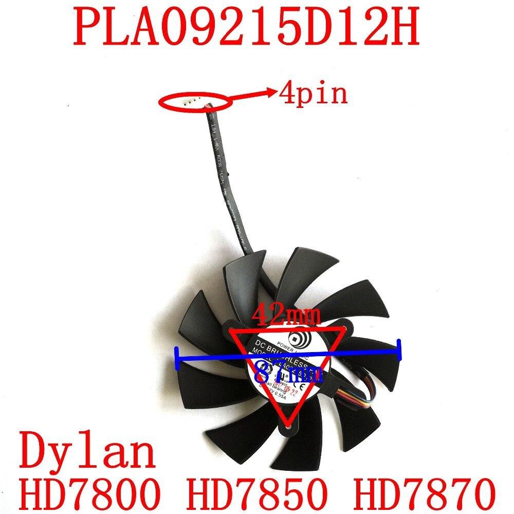 Envío gratis PLA09215D12H 12V 0.55A 87mm para Dylan HD7800 HD7850 HD7870 Ventilador de enfriamiento de tarjeta gráfica 4Wire 4Pin