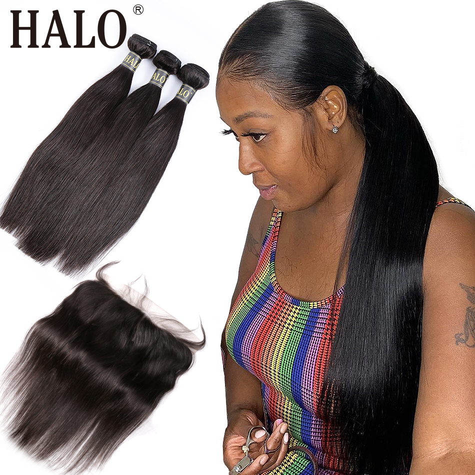 Halo hair Brazilian Straight Hair 3 4 Bundles Pre Preplucked With Lace Frontal Closure 13X4 Free