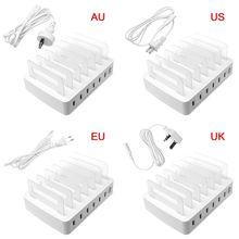 สมาร์ท USB Charger แท่นชาร์จ 6 พอร์ต 2.4A โทรศัพท์มือถือแท็บเล็ตอุปกรณ์หลาย Desktop Stand