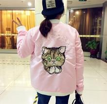 2016 Spring Pink Bomber Jacket Women Harajuku Cat Embroidery Baseball Jacket Cotton Outerwear chaqueta mujer
