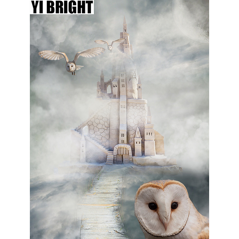 YI BRIGHT DIY 3D Diamond Embroidery,Cross Stitch,White Owl & Castle Mural,Full Square&Round Diamond Painting,Home Decor,GT