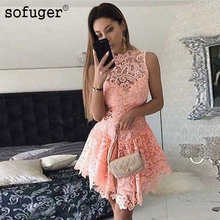 Tank Sleeveless Lace Short Prom Dresses Sexy High Low Formal Evening Gown Girls 2019 Homecoming