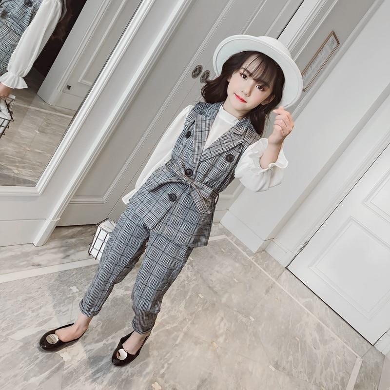 3 pieces big girls clothing sets pants +long sleeve blouse+vest 2018 autumn fashion Classic plaid girls clothes set 110-160 все цены