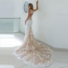 Mermaid White Champagne Wedding Dresses 2019 Spaghetti Strap Appliques See Through Lace Long Train Bridal Gown Robe De Mariage
