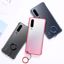 Translucent Micro Matte Case for Huawei P30 P20 Pro Mate 30 20 10 Lite Honor 8X 9X Rope Metal Finger Ring Full Protective Cover