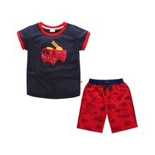 Boys Clothing Set Summer Children Shorts Cartoon Smile Car Tops + Print Short Pants 2pcs/Set Suits For