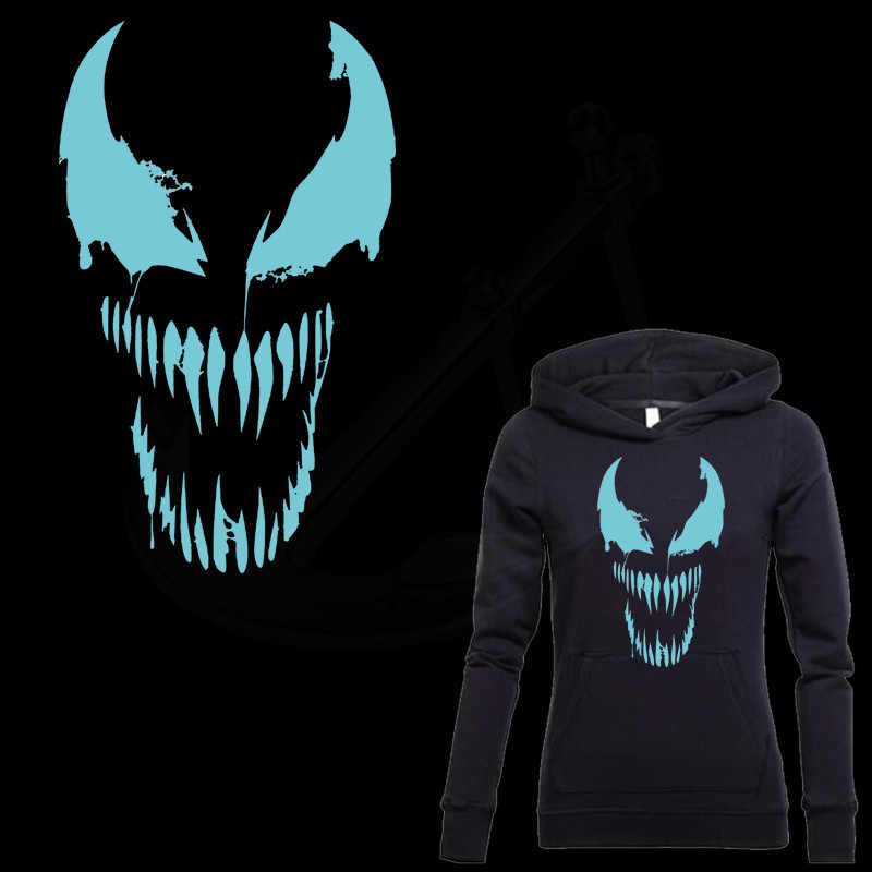 Hot Inverse hero Venom mark Patch for clothing 30*18 cm iron on patches Diy T-shirt  thermal transfer Luminous sticker