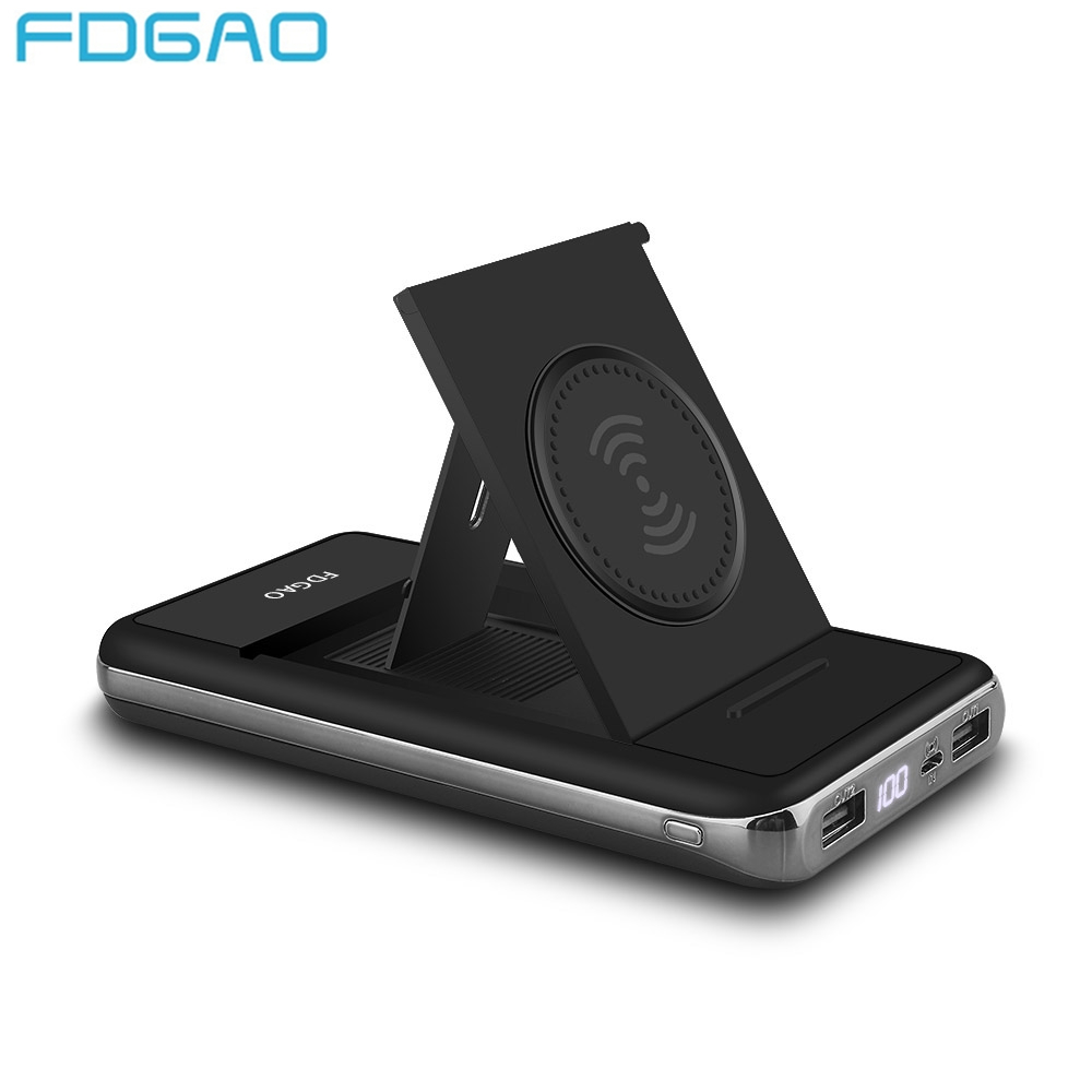 FDGAO QI Wireless Charger 2 in 1 Dual Power Bank 20000mAh For iPhone X 8 Samsung S9 S8 Note 9 8 Xiaomi Fast Charging Pad Holder Зарядное устройство