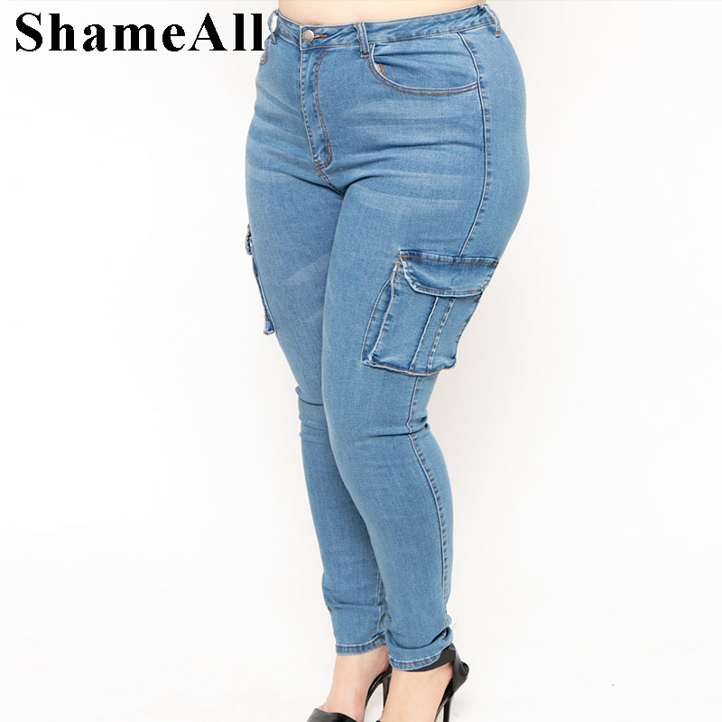 Women Plus Size Vintage Blue Motorcycle Biker Side Pockets Jeans 4XL Mid Waist Stretch Denim Skinny Pants Motor Jeans(China)