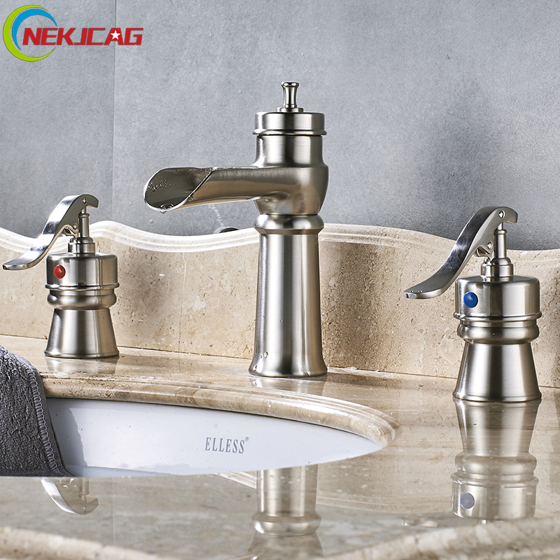 Nickle Bathroom Bathtub Faucet Deck Mounted Waterfall Mixer Faucet Dual Holder Dual Control Faucets free shipping polished chrome finish new wall mounted waterfall bathroom bathtub handheld shower tap mixer faucet yt 5333