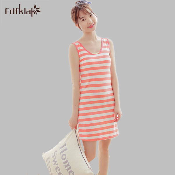 Summer   Nightgowns   2016 New Women Night Dress Casual Striped   Nightgown   Sleepwear Sleeveless   Sleepshirt   Homewear Black E0188