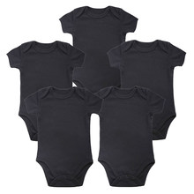 5PCS Unisex Place Baby Girl Boy Clothing Newborn Baby Bodysuit Black 100% Cotton 0-12 months Short Sleeve Baby Clothes Solid(China)
