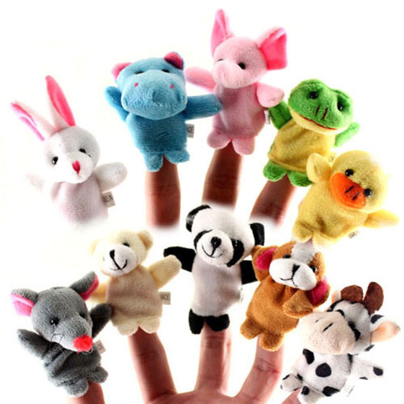 10pcs/Lot Lovely Velvet Finger Animal Puppets Kids Play Game Learn Story Baby's Educational Toys Sale FJ88