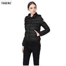 S-3XL Короткие сплошной цвет хлопка пальто 2017 зима новый мода простой лацкане однобортный кнопка карман куртки хлопка YAGENZ XH41