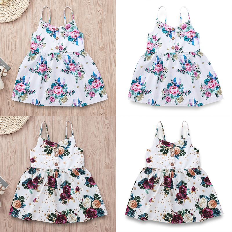 Kids Baby Girls Flower Summer Princess Dress Floral Sleeveless Strappy V-Neck Button Dress High Waist Cotton Dress(China)