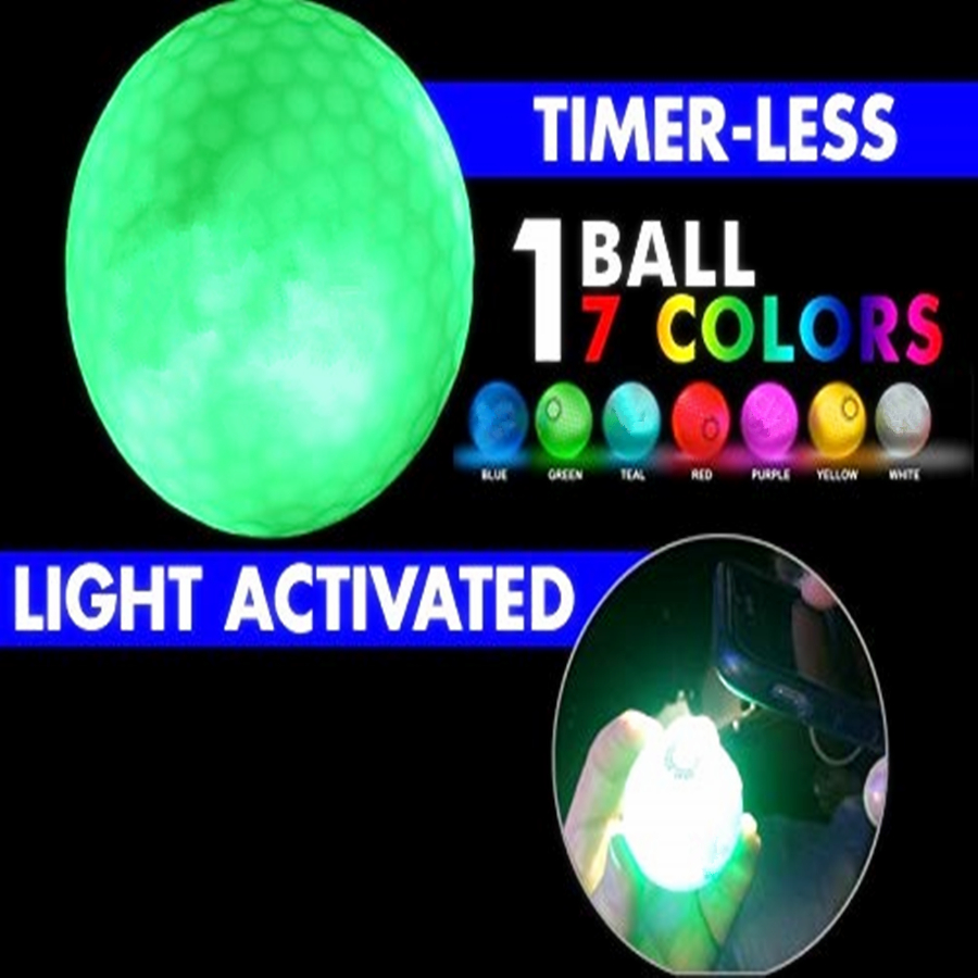 Super Bright 7 Color LED Light Activated Golf Ball Great For Night Golf