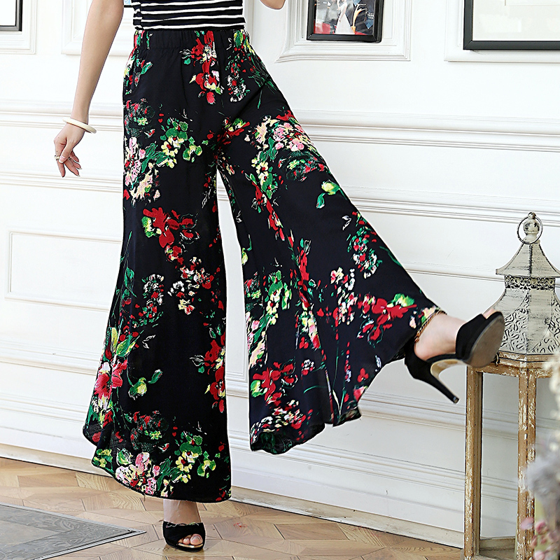 2019 New women summer pants pantalon femme print vintage trousers women Mid Wide Leg Pants