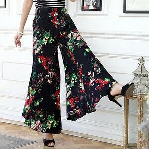 Image 1 - 2019 novas mulheres calças de verão pantalon femme impressão vintage calças femininas meados de perna larga