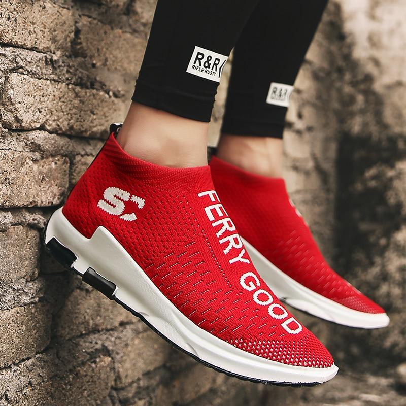 Fashion Men Shoes Casual Weaving Fly Mesh Breathable Light Soft Slipon Mens Shoe Male Trainers Sneakers Human Race
