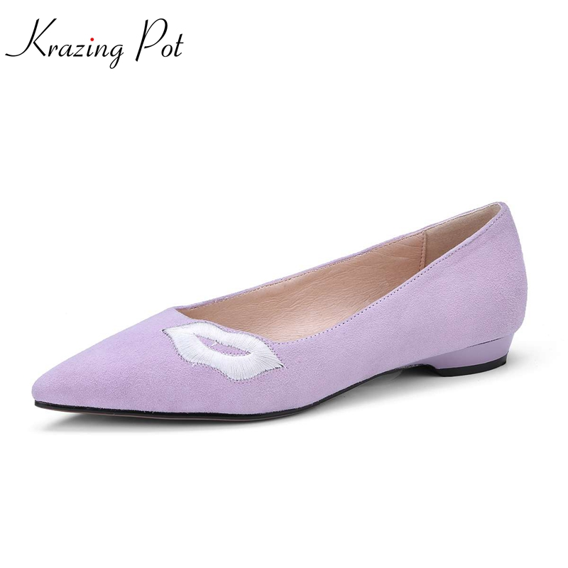 Krazing pot 2018 sheep suede embroidery shoes low heels slip on woman pumps pointed toe shallow concise style spring shoes L77 krazing pot empty after shallow shoes woman lace work flats pointed toe slip on sheep suede causal summer outside slippers l16