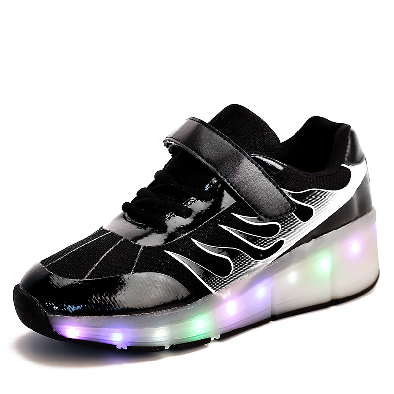 Breathable Mesh PU leather Single Wheel Chargable Glowing Sneaker LED Light Casual Shoes Boys Girls Full Light Flash Outdoor glowing sneakers usb charging shoes lights up colorful led kids luminous sneakers glowing sneakers black led shoes for boys