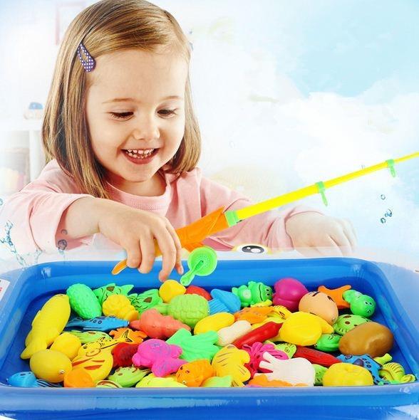 20Pcs/set Fish Toy Fishing Game Girls Set Suit Magnetic Fishing Play Water Ring Baby Toys Children Boys Kids Game Pool Toys