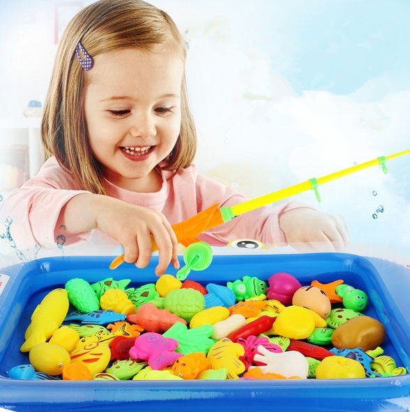 20Pcs/set Fish Toy Fishing Game Girls Set Suit Magnetic Fishing Play Water Ring Baby Toys Children Boys Kids Game Pool Toys