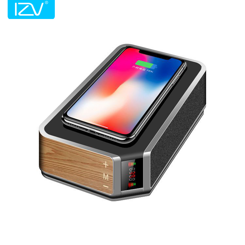 цена IZV New QI Wireless Charger Charging Bluetooth Speaker Handsfree Call NFC FM Radio Speaker for Iphone X Samsung S9 S8/7/note8