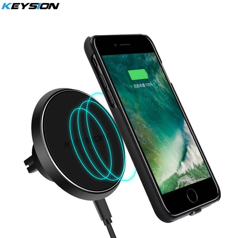 KEYSION Rotazione di 360 Gradi QI Standard Del Telefono Car holder Magnetico Caricatore Senza Fili Air Vent Holder per iPhone X 8 8 Plus per S8 Nota 8