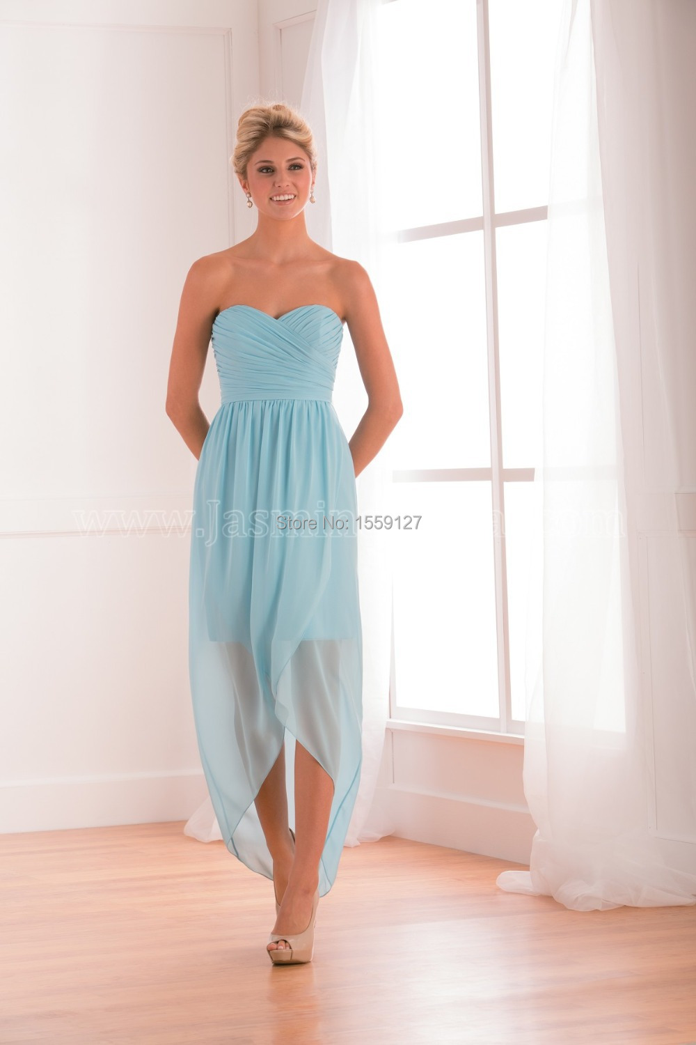 Sky Blue Beach Sweetheart Zipper Back Hi Lo Bridesmaid Dress Cheap ...