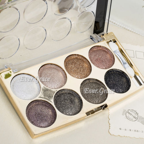 Makeup Cosmetics Glitter Eye Shadow Palette 8 Warm Colors Nude Smoky Natural Kit