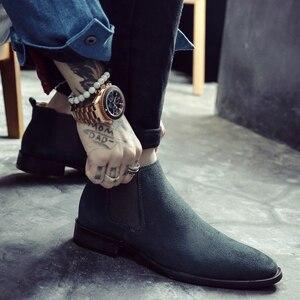 Image 4 - Misalwa Chelsea bottes hommes en daim cuir décent hommes bottines Original mâle chaussures décontractées courtes Style britannique hiver printemps botte