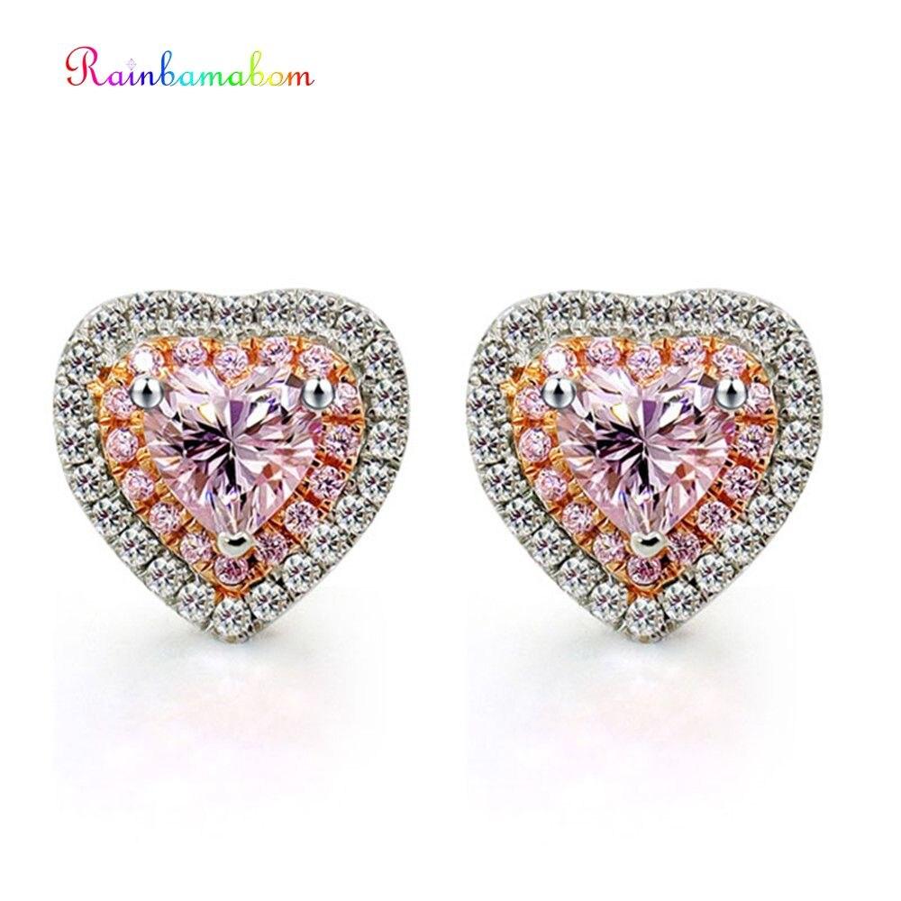 Romantic White Gold Plated CZ Diamond Cute Love Heart Star Stud Earring for Girl Teens