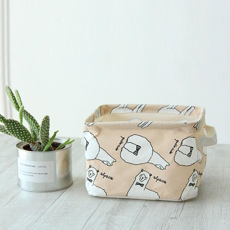 Makeup Organizer Home Accessories Fabric Storage Basket Sundries Box Canvas Desktop Toys Coin Storege Bag 20*14*16cm