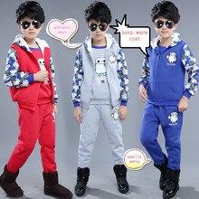 Новый утолщенной зимние мальчики костюм для 4-15 года мальчиков качество одежды детский мультфильм Отсек максимальная три шт/комплект ab 26147