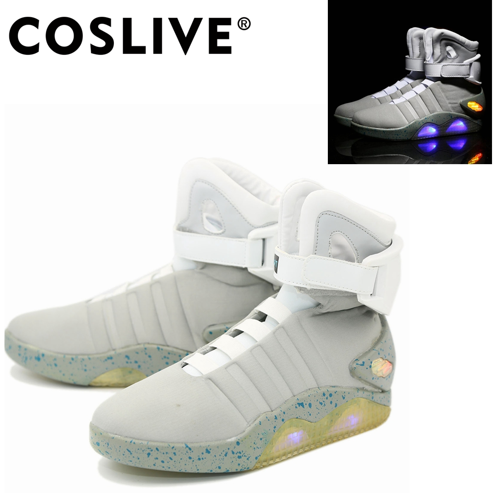 Coslive Marty Mcfly Sneakers Shoes Back To The Future Cosplay Sports Shoes With White Light Up